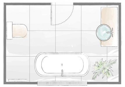 A drawn master bathroom layout showing position of the sink toilet and bath tub