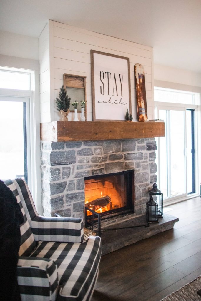 attractive fireplace in house during winters