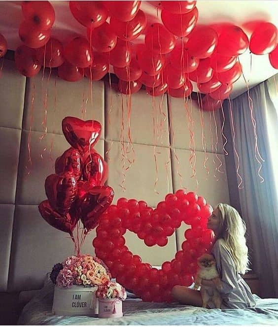 Romantic room decor Helium Balloons, heart shaped ballons red ballons and gift box