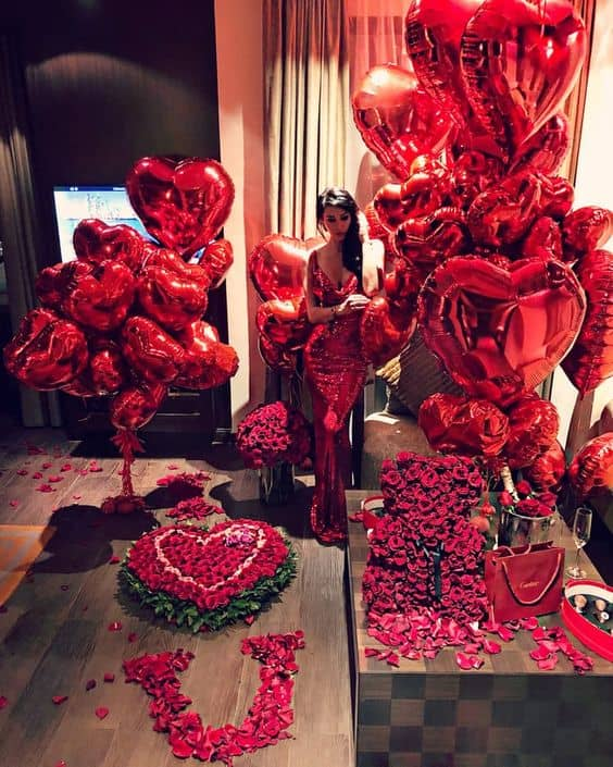 Romantic Red Balloons and Roses for room decor