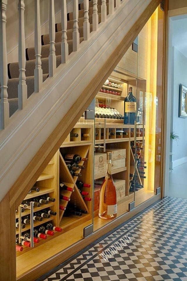 under stairs wine storage