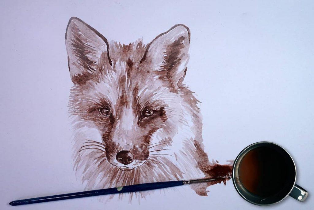 husky drawn on a white wall