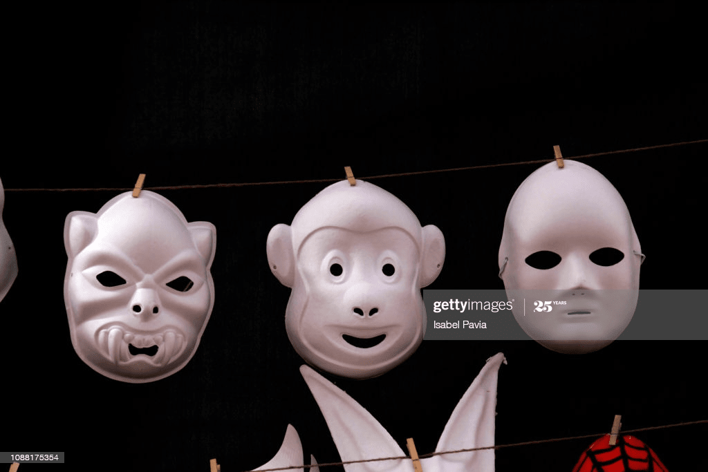 mask hanging with hanging pegs