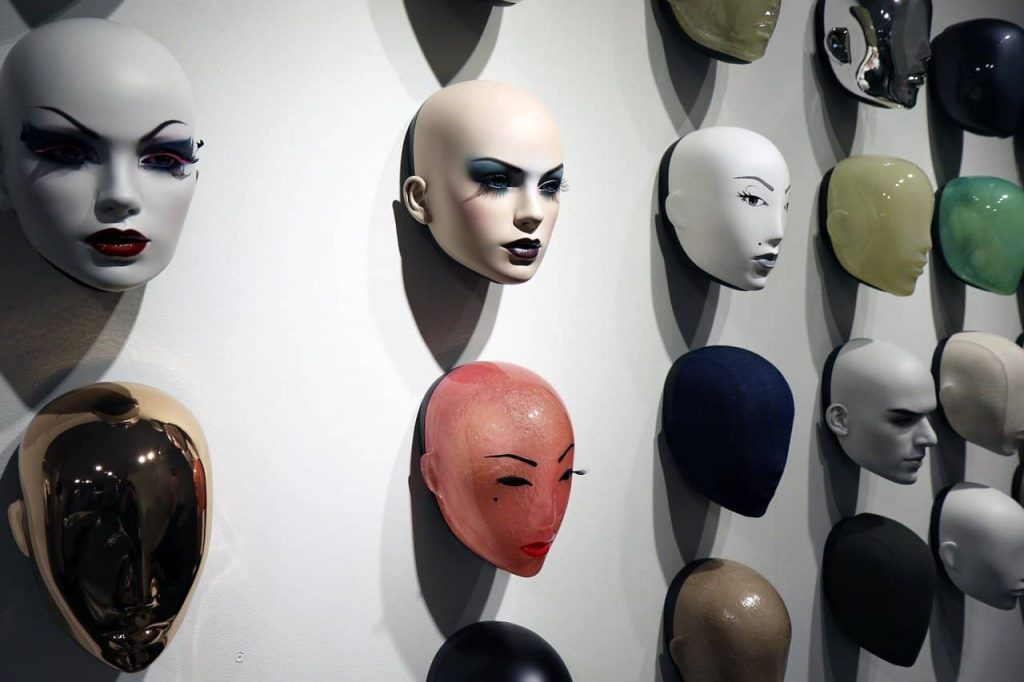 masks hanging on the wall