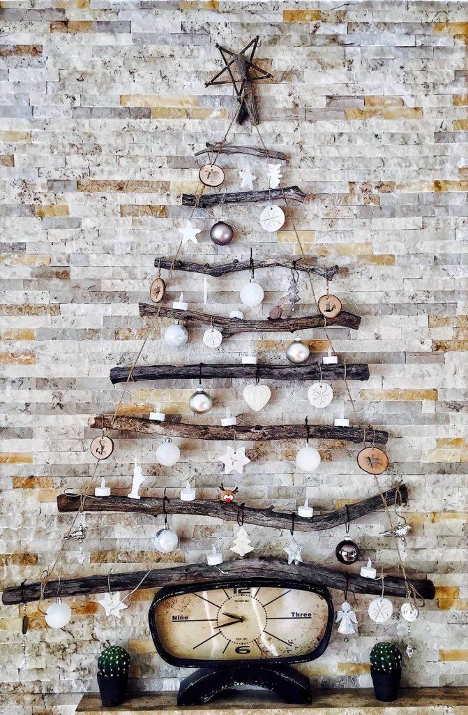 decorated rustic brick wall