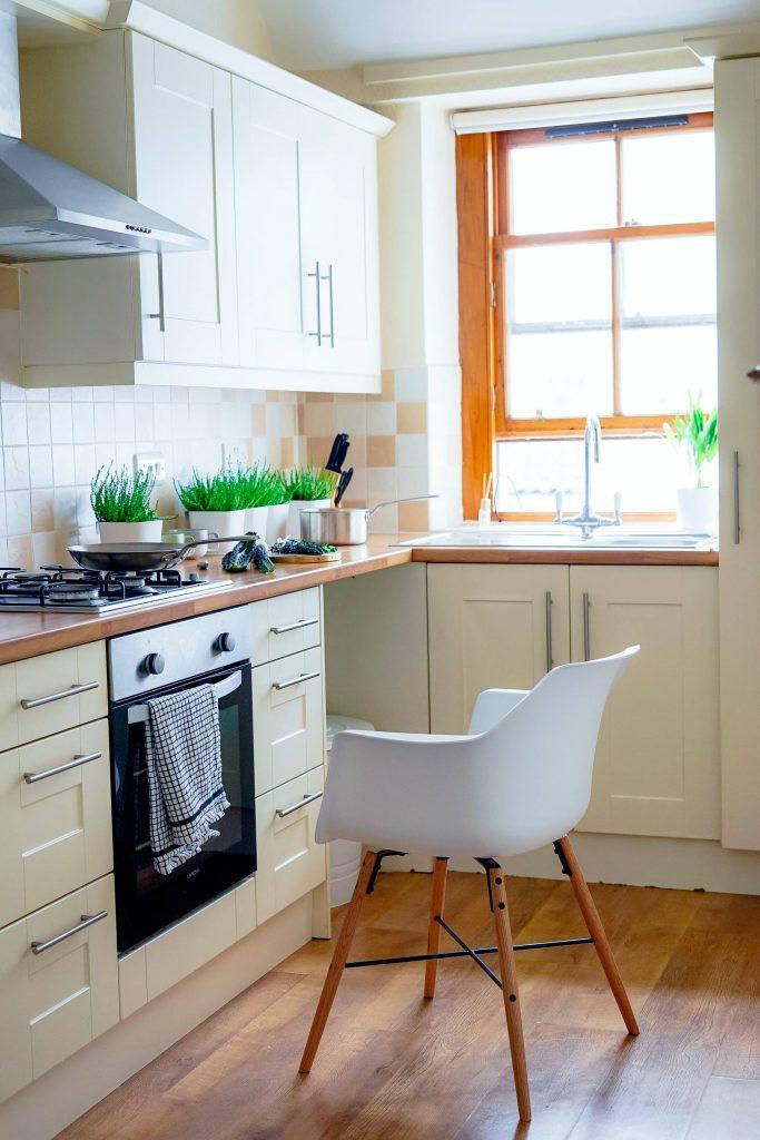 white chair in a white kitchen